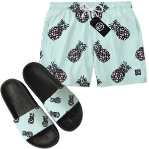 Kit Short Bermuda Moda Praia + Chinelo Slide - Abacaxi