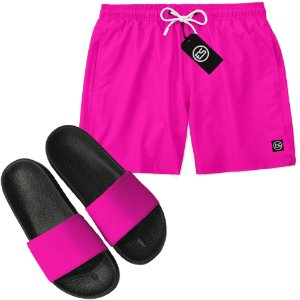 Kit Short Bermuda Moda Praia + Chinelo Slide - Cor Lisa