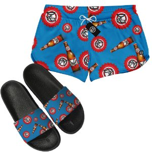 Kit Short Moda Praia + Chinelo Slide - Duff Beer