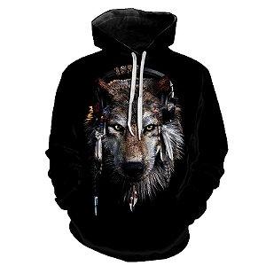 Blusa Moletom Estampa Full 3D - Tribal Music Wolf