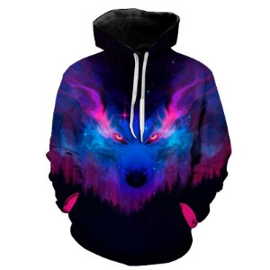Blusa Moletom Estampa Full 3D - Mystic Galaxy Wolf
