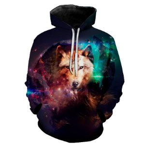 Blusa Moletom Estampa Full 3D - Galaxy Wolf