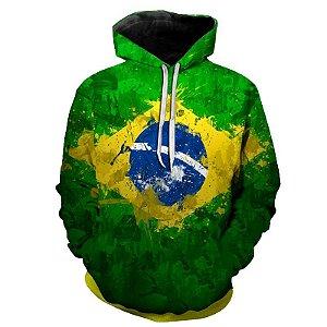 Blusa Moletom Estampa Full 3D - Bandeira Brasil
