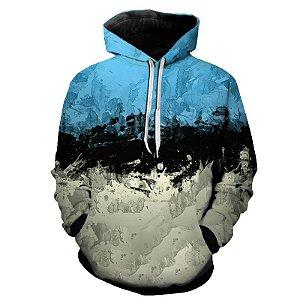 Blusa Moletom Estampa Full 3D - Paint Blue Black White