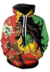 Blusa Moletom Canguru Full 3d Bob Marley Reggae Jamaica