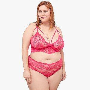 Calcinha plus size em renda pink com cintura alta