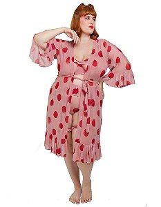 Kimono plus size de tule maxi poá rosa vintage