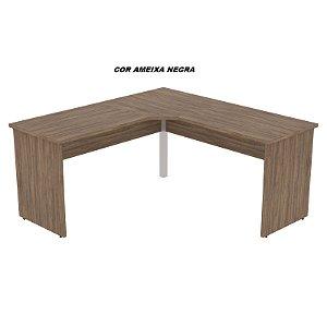 Mesa em L madeira 25mm de espessura linha Delta Executiva pé central de ferro