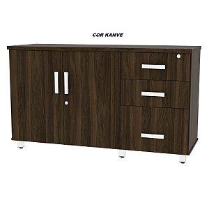 Balcão em madeira tampo de 25mm de espessura 2 portas e 3 Gavetas Linha Alternativa 129cm larg x 45cm prof x 75cm alt