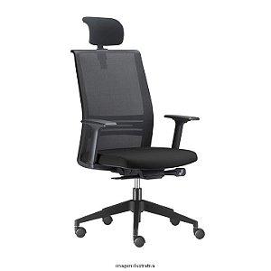 Cadeira Giratória modelo Agile Presidente com encosto em Tela e Apoio de Cabeça