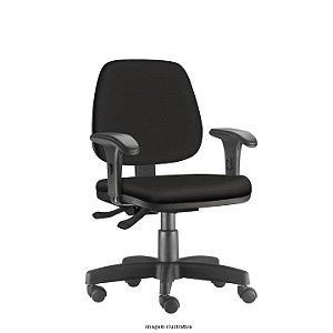 Cadeira Giratória Base em Metal modelo Ergonômica Backsystem Assento e Encosto Executivo JOB Operativa Revestimento em Tecido liso cor Preto Braço Digitador