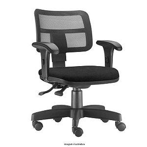 Cadeira Giratória Ergonômica Backsystem Assento estofado Revestimento em tecido preto Braços com regulagem de altura Encosto em Tela modelo ZIP marca Frisokar