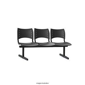 Longarina para sala de espera ou recepção Estrutura em metal Assento e Encosto em plástico de alta resistência cor preto modelo ISO marca Frisokar