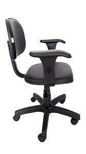 Cadeira Giratória Estrutura em metal Assento e Encosto modelo Secretária espuma injetada revestimento em corino cor Preto com Braços digitador