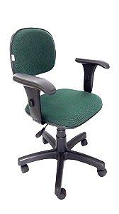 Cadeira Giratória Estrutura em metal assento e encosto modelo Secretária espuma injetada Revestimento em Tecido com Braço modelo digitador