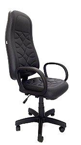 Cadeira Giratória Base em Metal Assento e Encosto modelo Presidente espuma injetada 70mm de espessura revestimento em Corino com costura Braços modelo Corsa Encosto Vip