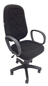 Cadeira Giratória Base em Metal Assento e Encosto modelo Presidente espuma injetada 70mm de espessura revestimento em Tecido com costura Braços modelo Corsa
