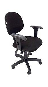 Cadeira Giratória Base em Metal modelo Ergonômico Backsystem Assento e Encosto Executivo espuma injetada revestimento em Tecido liso cor Preto