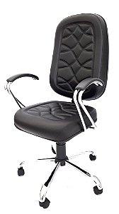 Cadeira Giratória Base em metal Assento e Encosto modelo Presidente espuma injetada 70mm com costura revestimento em Corino cor preto Base e Braços Cromados