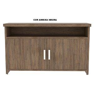 Balcão para Café em madeira tampo engrossado 40mm de espessura 2 portas com 01 prateleira interna modelo New Star