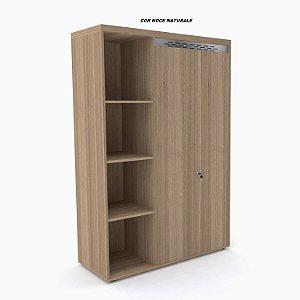 Armário em madeira Alto Nicho Único PE50 2 portas com chave e 3 prateleiras internas 160cm x 105cm x 44cm