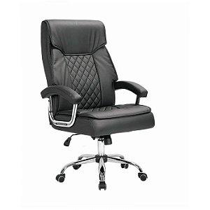 Cadeira Giratória Presidente Luxo Revestimento em Corino cor Preto Espuma com Molas Ensacadas Base cromado - 9241