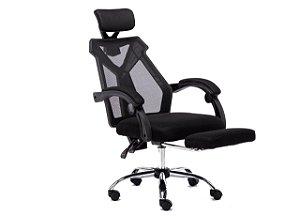 Cadeira Giratória Ergonômica Backsystem Presidente Assento estofado Revestimento em Tecido Encosto em Tela com descanso de pernas - 0220P
