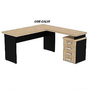 Mesa Conjunto L 160cm x 150cm em madeira tampo engrossado 40mm de espessura laterais de 25mm de espessura linha New Star - Mesclado com Preto