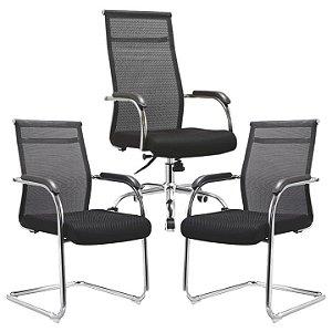Conjunto Cadeiras Encosto em Tela