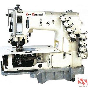 Máquina de Costura Industrial Fechadeira Plana 3 Agulhas Ponto Corrente SSTC2703 PTF