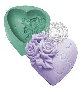 Molde de Silicone Coração I LOVE YOU