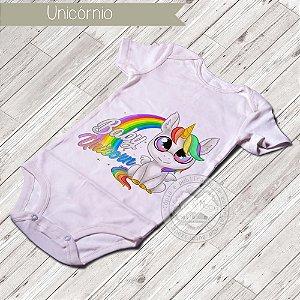 Body Infantil para bebê Baby Unicórnio