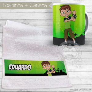Kit toalhinha e caneca personalizada tema Ben 10