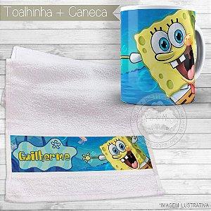 Kit toalhinha e caneca personalizada tema Bob Esponja