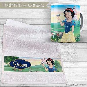 Kit toalhinha e caneca personalizada tema Branca de Neve