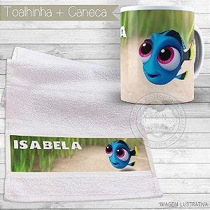 Kit toalhinha e caneca personalizada tema Dori
