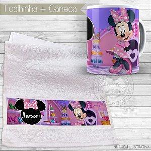 Kit toalhinha e caneca personalizada tema Minnie Rosa