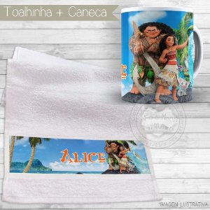 Kit toalhinha e caneca personalizada tema Moana