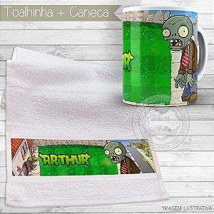 Kit toalhinha e caneca personalizada tema Plantas Vs Zumbies
