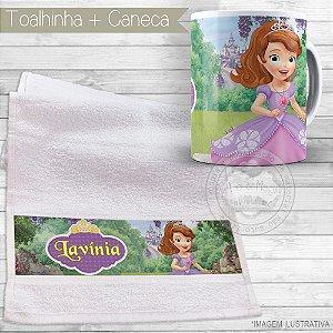 Kit toalhinha e caneca personalizada tema Princesinha Sofia