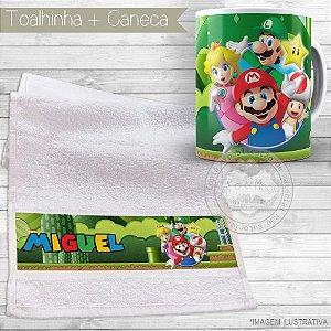 Kit toalhinha e caneca personalizada tema Super Mario