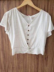 Blusa Branca Gola V
