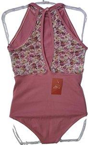 Collant com tule nas costas rosa chiclete Tam M