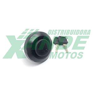 TAMPA TANQUE YBR 125 ATE 2005 / XTZ 125 ATE 2005 PRETA (PLASTICA  ROSCA) AUTOTEC