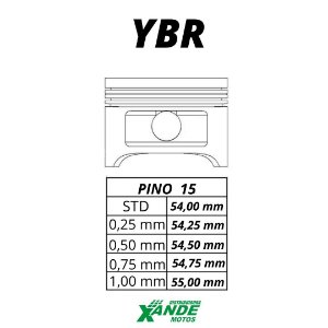 PISTAO KIT YBR / FACTOR / XTZ 125  VINI 0,75