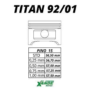 PISTAO KIT TITAN 125 1992-2001 METAL LEVE 0,25