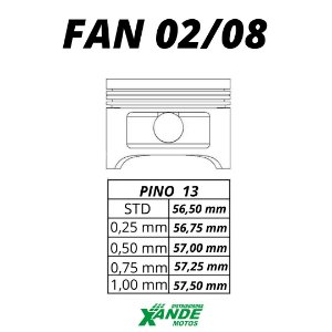 PISTAO KIT TITAN 125 2002-2004 / FAN 125 2005-2008 KMP STD