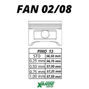 PISTAO KIT TITAN 125 2002-2004 / FAN 125 2005-2008 KMP 0,75
