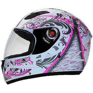CAPACETE MIXS MX FOKKER RACING GIRLS BRANCO C/ ROSA 58