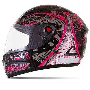 CAPACETE MIXS MX FOKKER RACING GIRLS PRETO C/ ROSA 60
